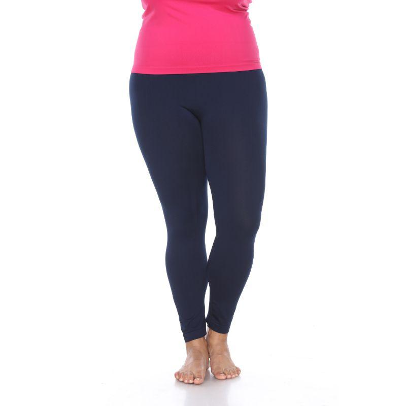 Women's Plus Size Super-Stretch Solid Leggings by Whitemark-Navy-Daily Steals