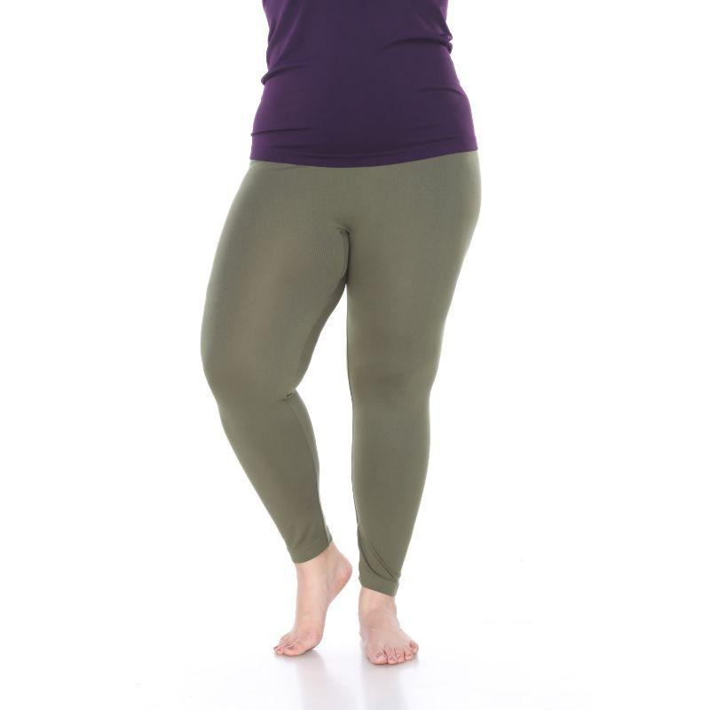 Women's Plus Size Super-Stretch Solid Leggings by Whitemark-Olive-Daily Steals
