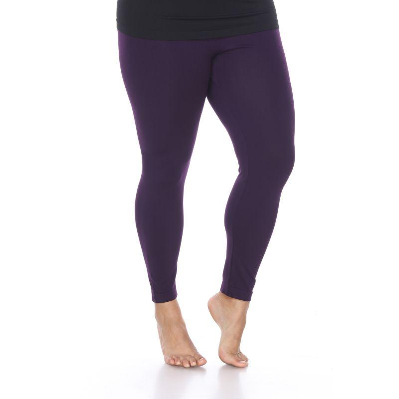Women's Plus Size Super-Stretch Solid Leggings by Whitemark-Purple-Daily Steals