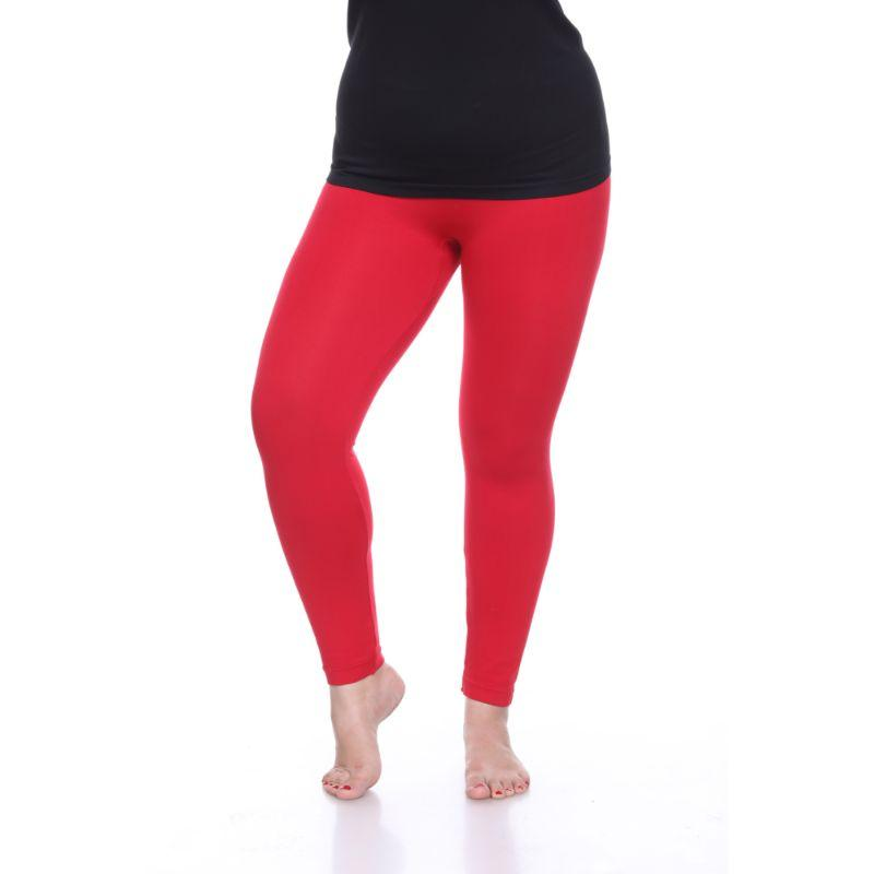 Women's Plus Size Super-Stretch Solid Leggings by Whitemark-Red-Daily Steals
