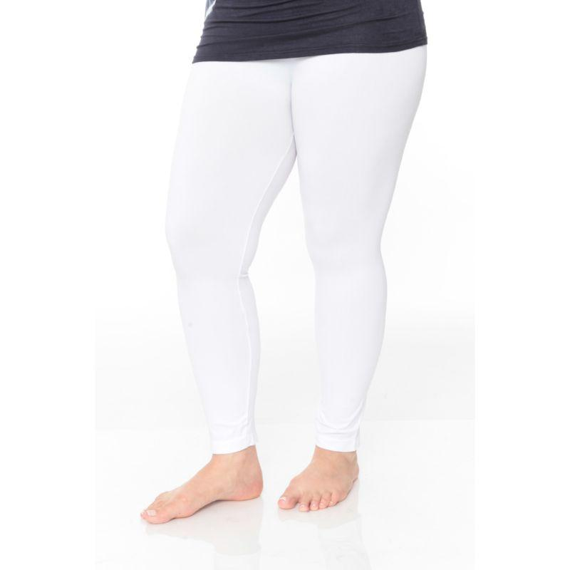 Women's Plus Size Super-Stretch Solid Leggings by Whitemark-White-Daily Steals