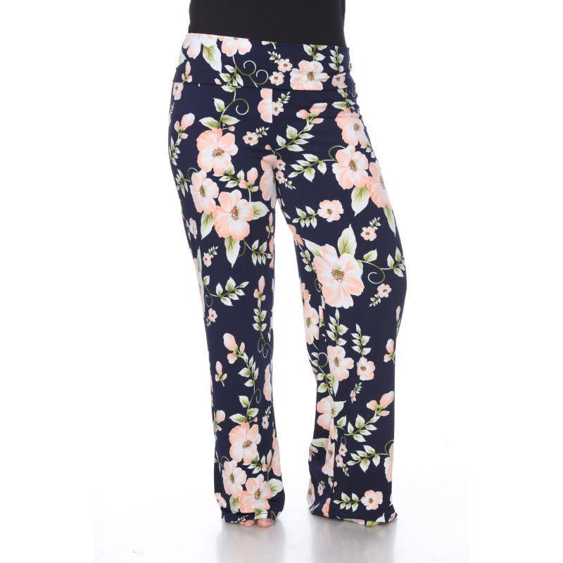 Women's Printed Palazzo Pants - Peach Flower-2XL-