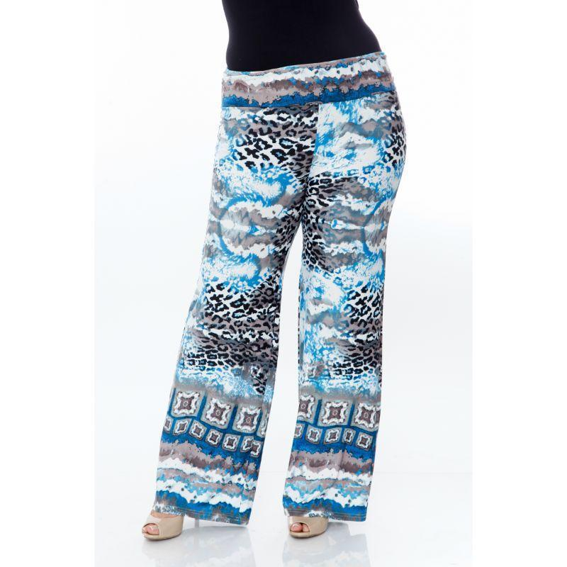 Women's Printed Palazzo Pants - Sky Blue Cheetah-XL-
