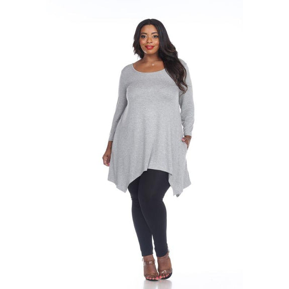 Womens Round Neck 3/4 Sleeve Makayla Plus Size Tunic Top-Heather Grey-2X-