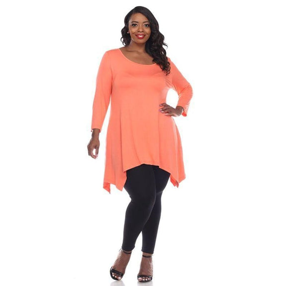 Womens Round Neck 3/4 Sleeve Makayla Plus Size Tunic Top-Coral Pink-4X-