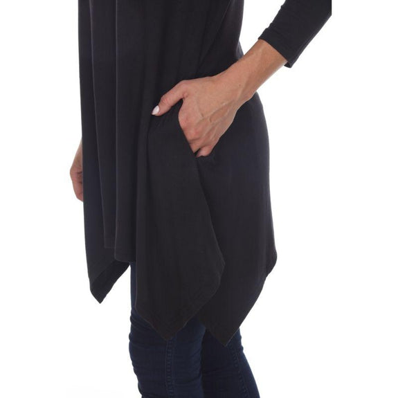 Womens Round Neck 3/4 Sleeve Makayla Plus Size Tunic Top-Black-1X-