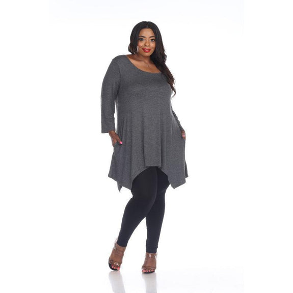 Womens Round Neck 3/4 Sleeve Makayla Plus Size Tunic Top-Charcoal-2X-