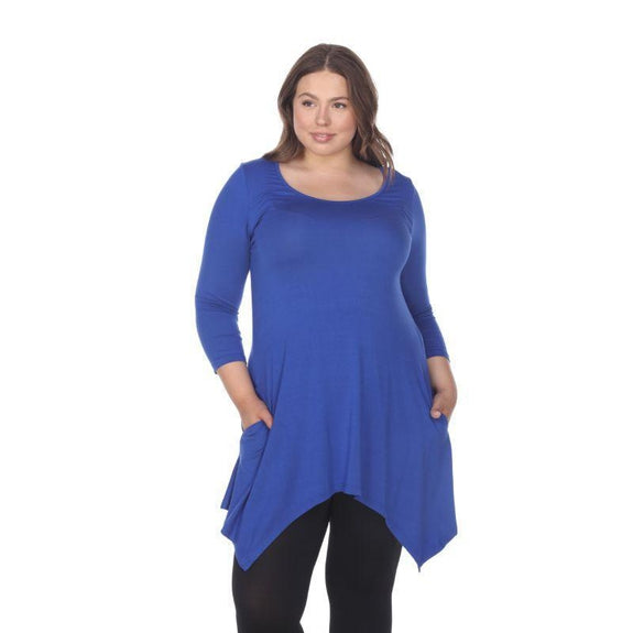 Womens Round Neck 3/4 Sleeve Makayla Plus Size Tunic Top-Royal-2X-
