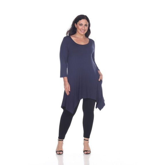 Womens Round Neck 3/4 Sleeve Makayla Plus Size Tunic Top-Black-6X-