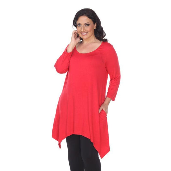 Womens Round Neck 3/4 Sleeve Makayla Plus Size Tunic Top-Red-3X-