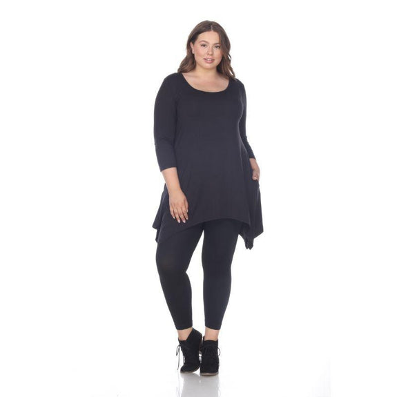 Womens Round Neck 3/4 Sleeve Makayla Plus Size Tunic Top-Black-4X-