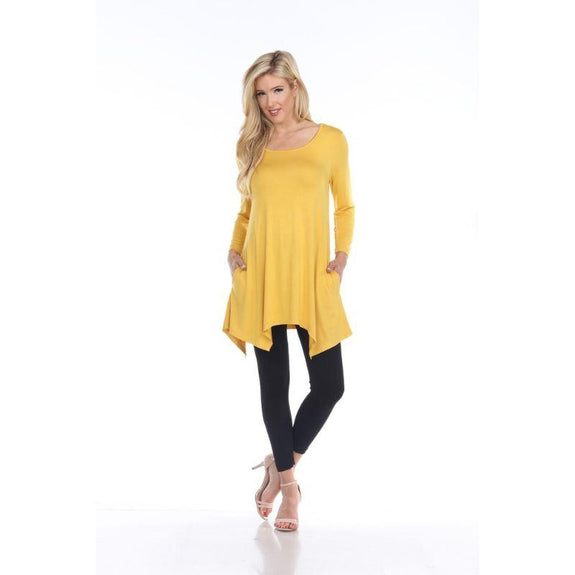 Womens Round Neck 3/4 Sleeve Makayla Tunic Top-Mustard-L-