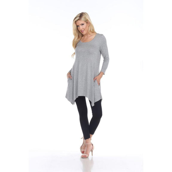 Womens Round Neck 3/4 Sleeve Makayla Tunic Top-Heather Grey-S-