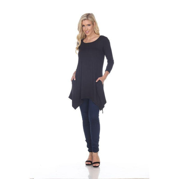 Womens Round Neck 3/4 Sleeve Makayla Tunic Top-Black-S-
