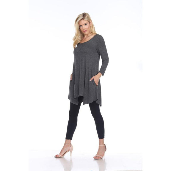 Womens Round Neck 3/4 Sleeve Makayla Tunic Top-Charcoal-S-