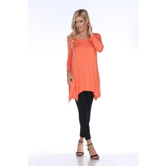 Womens Round Neck 3/4 Sleeve Makayla Tunic Top-Coral Pink-M-