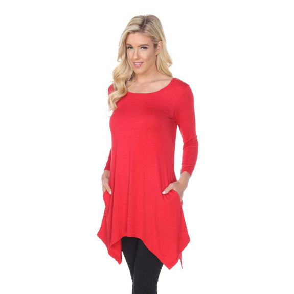 Womens Round Neck 3/4 Sleeve Makayla Tunic Top-Red-S-