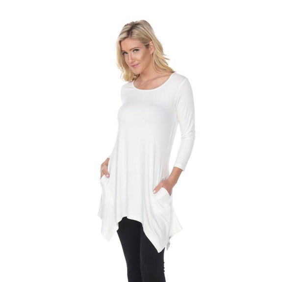 Womens Round Neck 3/4 Sleeve Makayla Tunic Top-White-L-