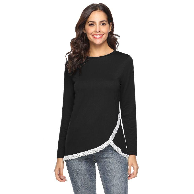 Women's Rounded Lace Bottom Shirt by Lilly Posh-Black-L-Daily Steals