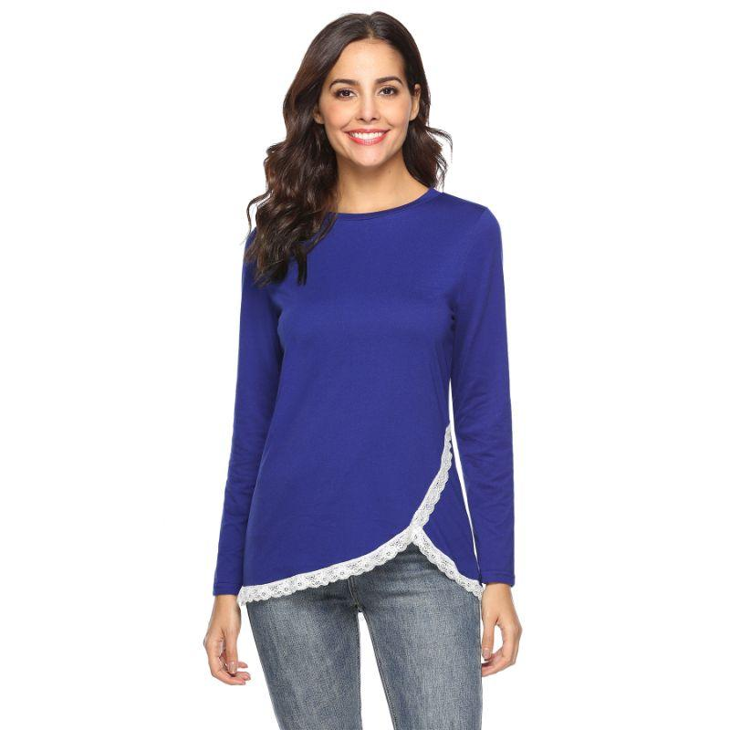 Women's Rounded Lace Bottom Shirt by Lilly Posh-Blue-M-Daily Steals
