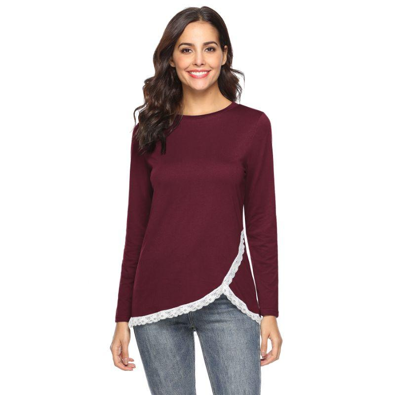 Women's Rounded Lace Bottom Shirt by Lilly Posh-Burgundy-XL-Daily Steals
