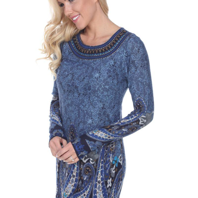Women's Sandrine Embroidered Sweater Dress by Whitemark-Blue-M-Daily Steals