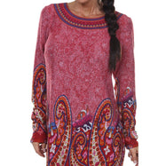 Women's Sandrine Embroidered Sweater Dress by Whitemark-Brick Red-XL-Daily Steals