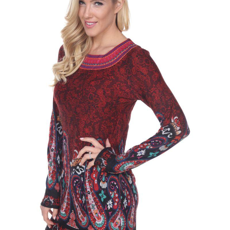 Women's Sandrine Embroidered Sweater Dress by Whitemark-Burgundy-L-Daily Steals