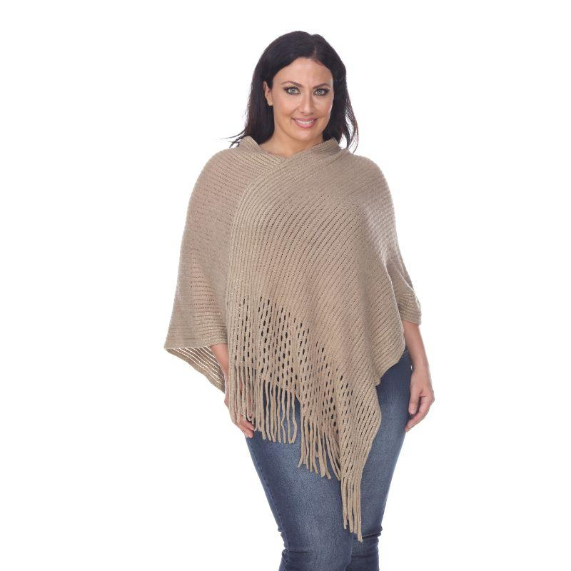 Women's Sansa Gold Knit Fringe Poncho By White Mark-Beige-One Size Plus Size-Daily Steals