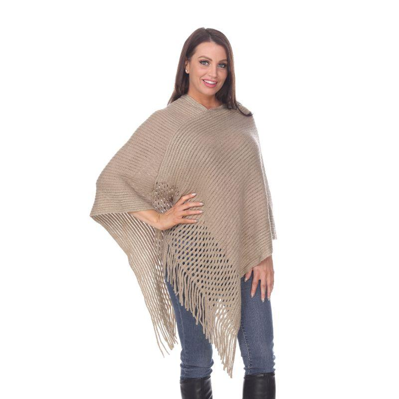 Women's Sansa Gold Knit Fringe Poncho By White Mark-Beige-One Size Regular-Daily Steals