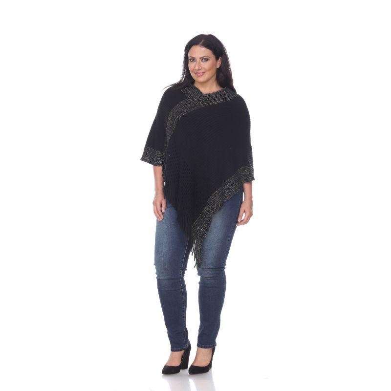 Women's Sansa Gold Knit Fringe Poncho By White Mark-Black-One Size Plus Size-Daily Steals