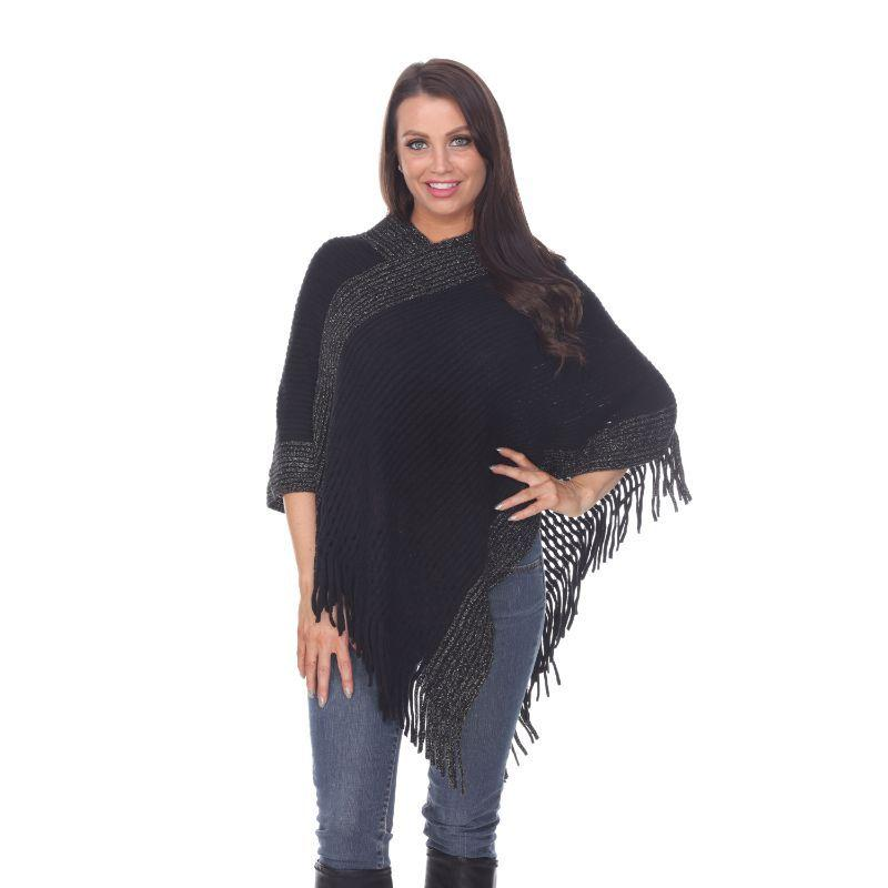Women's Sansa Gold Knit Fringe Poncho By White Mark-Black-One Size Regular-Daily Steals