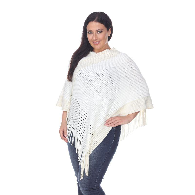 Women's Sansa Gold Knit Fringe Poncho By White Mark-White-One Size Plus Size-Daily Steals