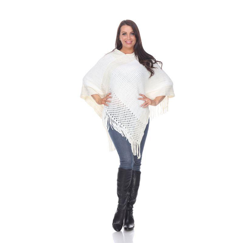 Women's Sansa Gold Knit Fringe Poncho By White Mark-White-One Size Regular-Daily Steals