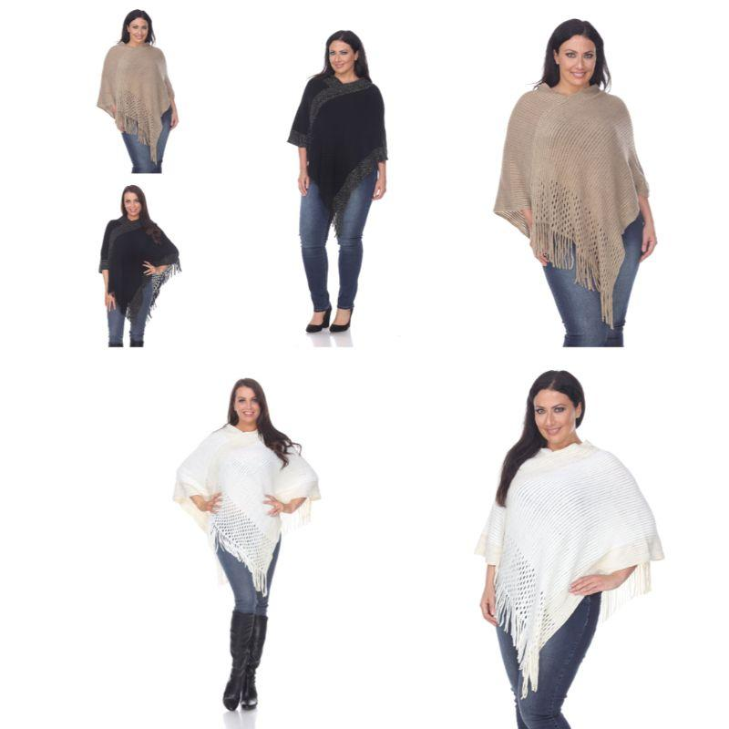 Women's Sansa Gold Knit Fringe Poncho By White Mark-Daily Steals