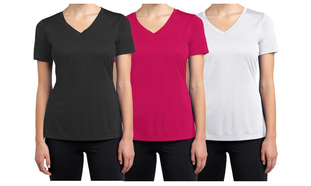 Daily Steals-Women's Short Sleeve Cotton Stretch Tees (3-Packs)-Women's Apparel-Black - Magenta - White-XX-Large-