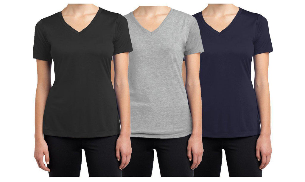 Daily Steals-Women's Short Sleeve Cotton Stretch Tees (3-Packs)-Women's Apparel-Black - Navy - Heather Grey-XX-Large-