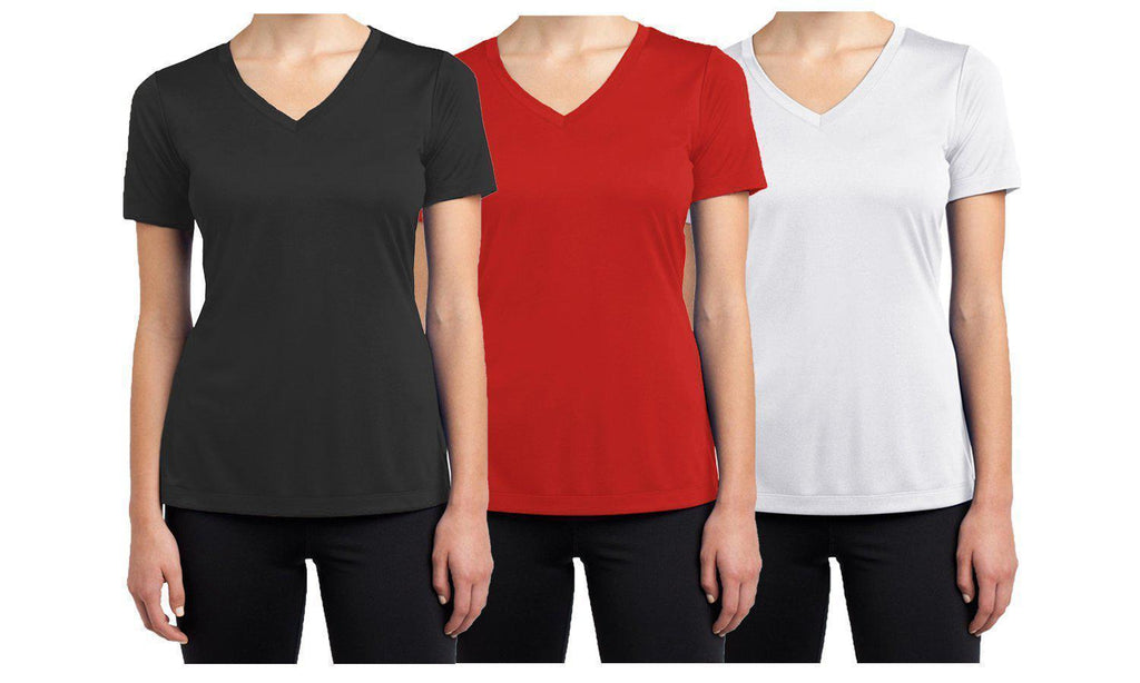 Daily Steals-Women's Short Sleeve Cotton Stretch Tees (3-Packs)-Women's Apparel-Black - Red - White-XX-Large-