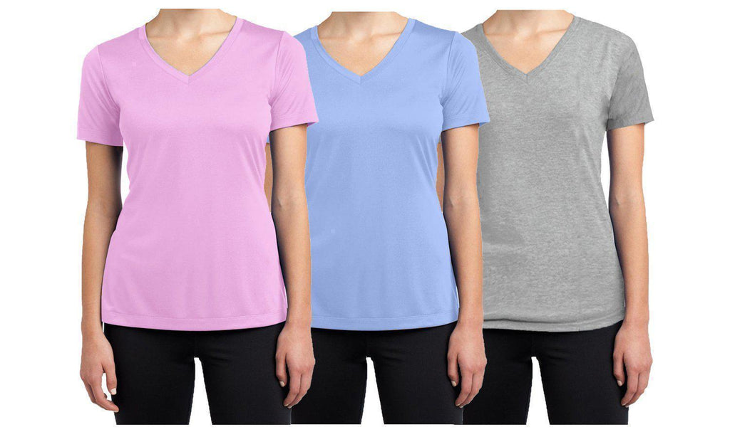 Daily Steals-Women's Short Sleeve Cotton Stretch Tees (3-Packs)-Women's Apparel-Heather Grey - Pink - Light Blue-XX-Large-