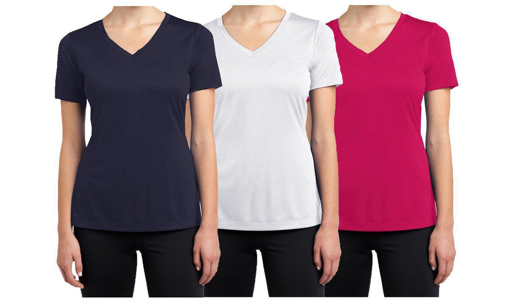 Daily Steals-Women's Short Sleeve Cotton Stretch Tees (3-Packs)-Women's Apparel-Magenta - White - Navy-XX-Large-