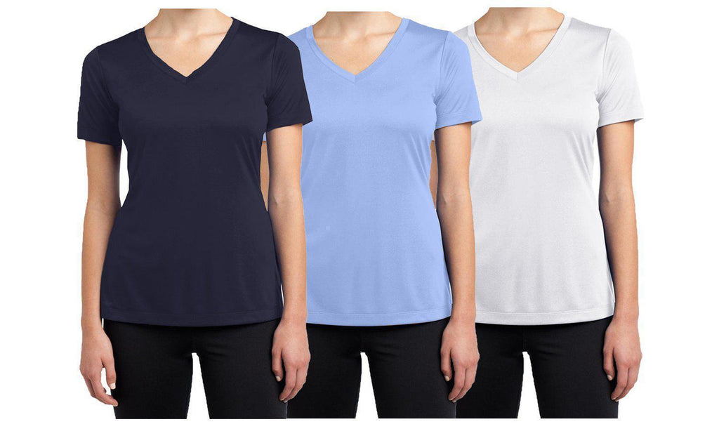Daily Steals-Women's Short Sleeve Cotton Stretch Tees (3-Packs)-Women's Apparel-Navy - Light Blue - White-XX-Large-