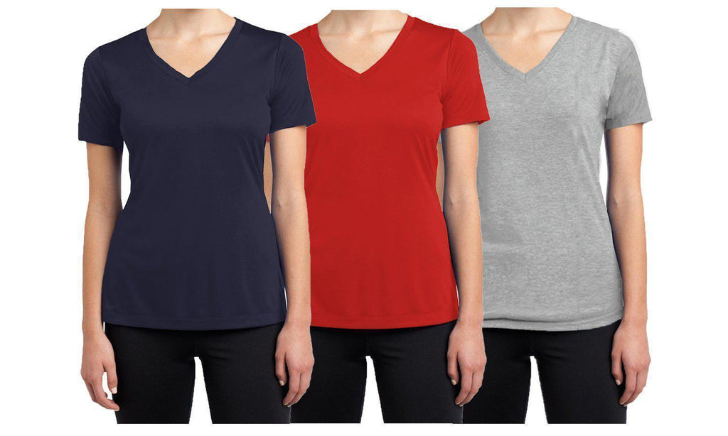 Daily Steals-Women's Short Sleeve Cotton Stretch Tees (3-Packs)-Women's Apparel-Navy - Red - Heather Grey-XX-Large-