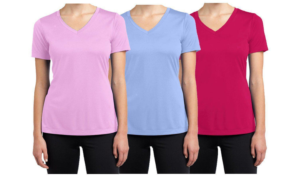 Daily Steals-Women's Short Sleeve Cotton Stretch Tees (3-Packs)-Women's Apparel-Pink - Light Blue - Magenta-XX-Large-
