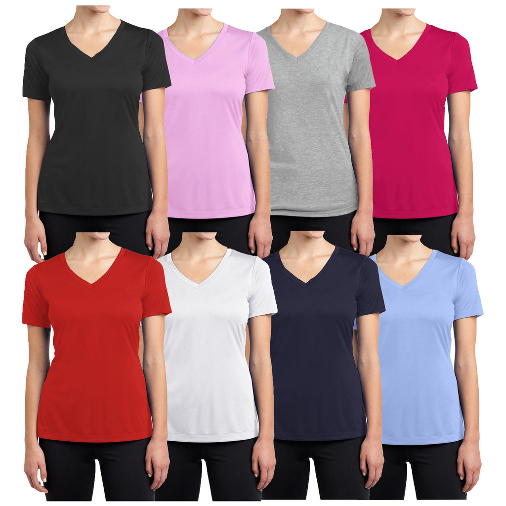 Daily Steals-Women's Short Sleeve Cotton Stretch Tees (3-Packs)-Women's Apparel-Black - Navy - Heather Grey-Small-