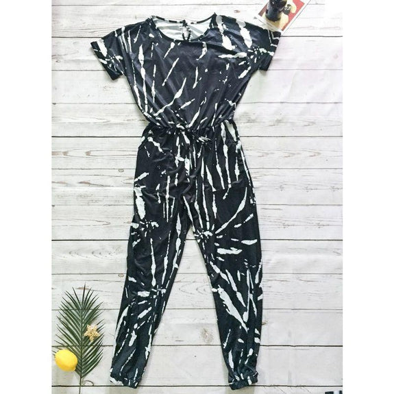 Womens Short Sleeve Tie Dye Jumpsuit-Black-S-