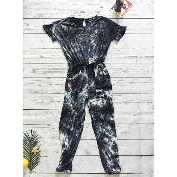 Womens Short Sleeve Tie Dye Jumpsuit-Gray-XL-