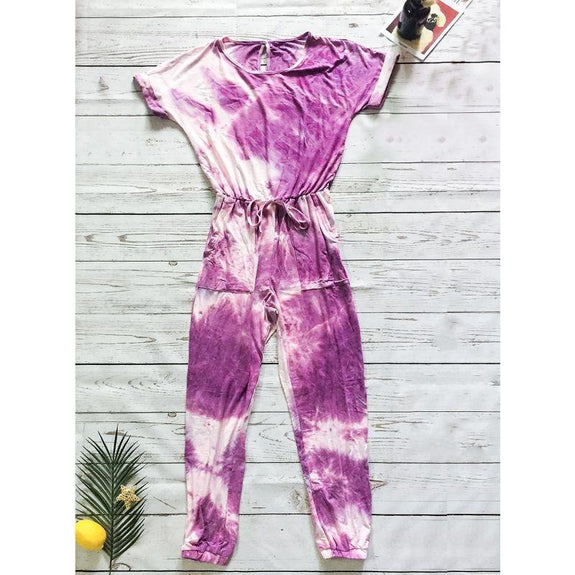 Womens Short Sleeve Tie Dye Jumpsuit-Purple-S-