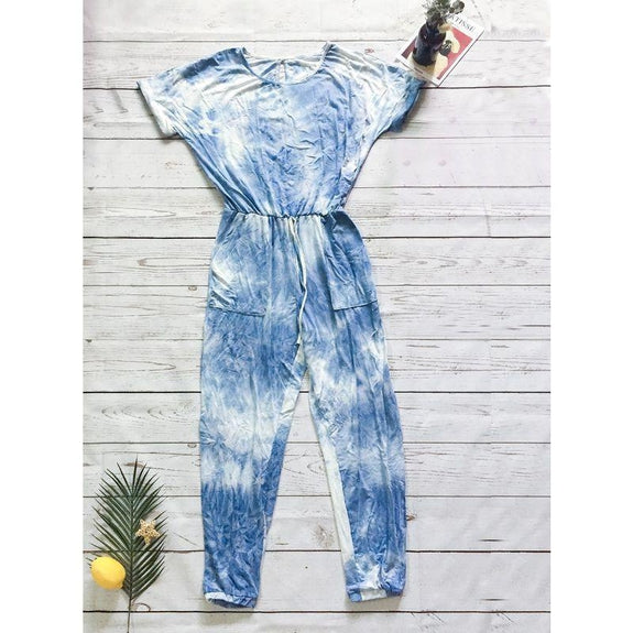 Womens Short Sleeve Tie Dye Jumpsuit-Light Blue-M-