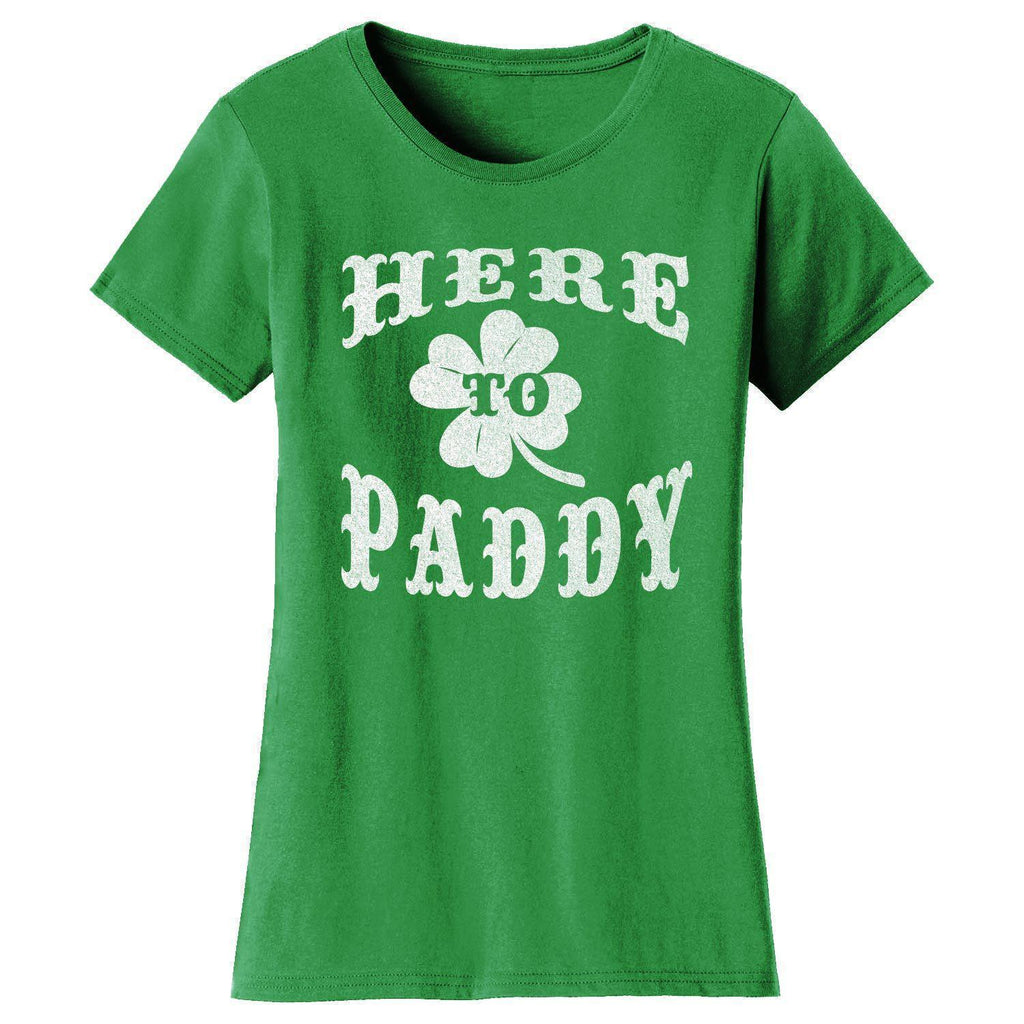 Daily Steals-Women's St. Patrick's Day T-shirts-Women's Apparel-2X-Large-Here to Paddy - Kelly Green-
