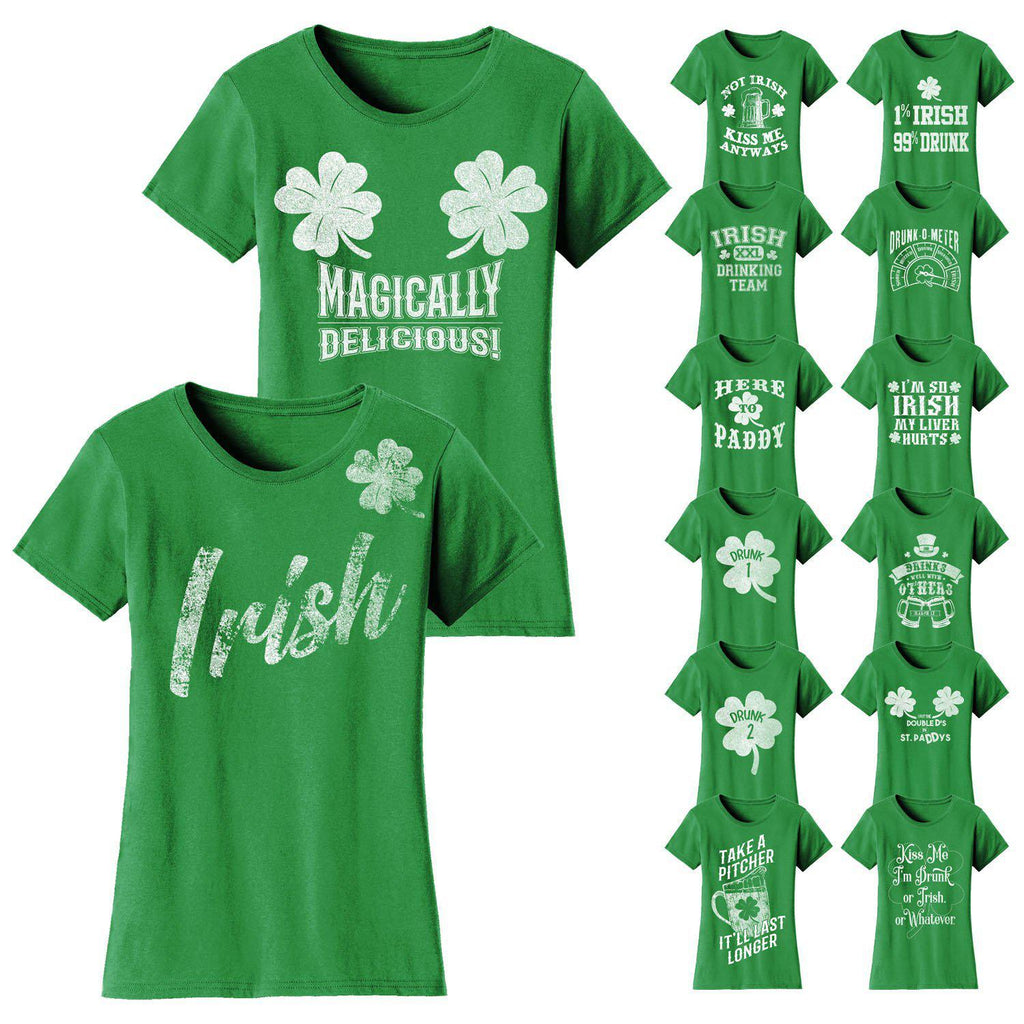 Daily Steals-Women's St. Patrick's Day T-shirts-Women's Apparel-Small-Not Irish Kiss Me Anyways - Kelly Green-